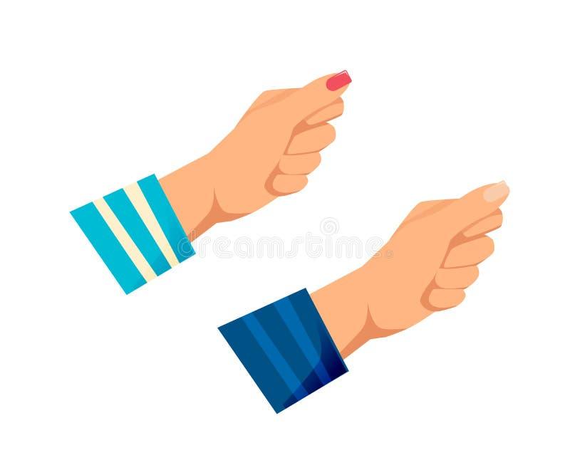 Man` s, händer för kvinnor s med gester Motstånd styrka, vektor illustrationer