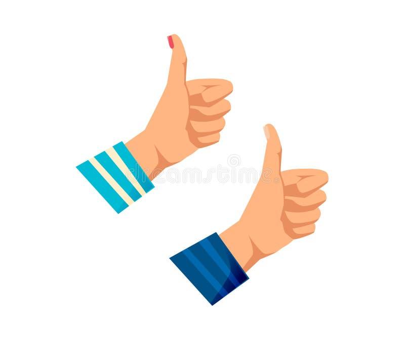 Man` s, händer för kvinnor s med gester Teckengrupp, goda, royaltyfri illustrationer