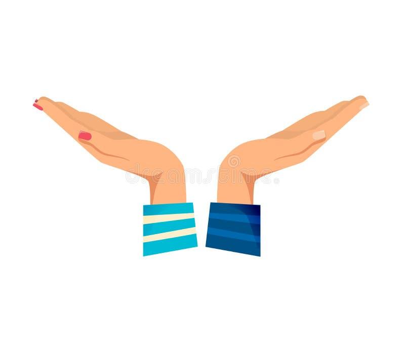 Man` s, händer för kvinnor s med gester Utsträckt gest royaltyfri illustrationer