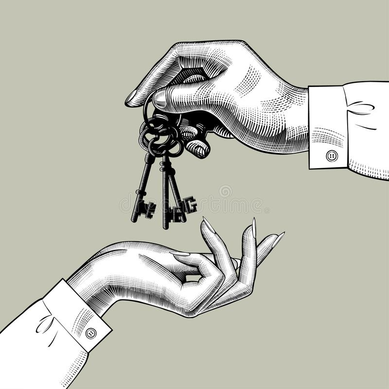 A man`s hand gives the keys to a woman`s hand vector illustration