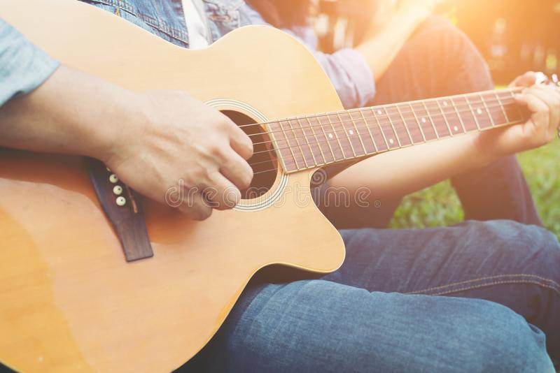 Mans Hand Holding Guitar Chords Train All The Time Stock Photo