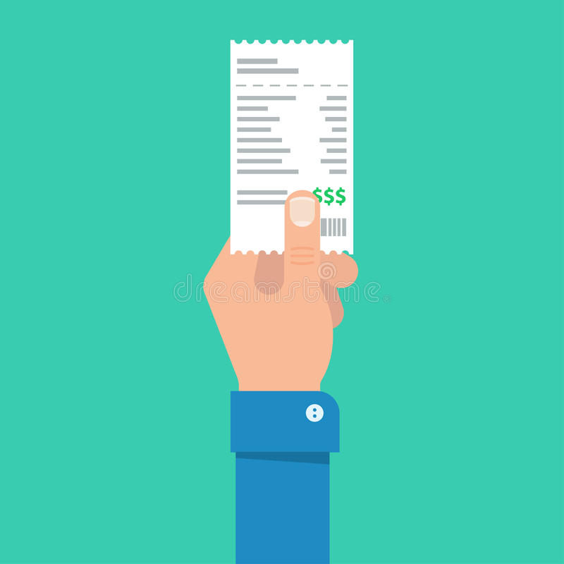 Man`s hand holds the account or bill for payment stock illustration