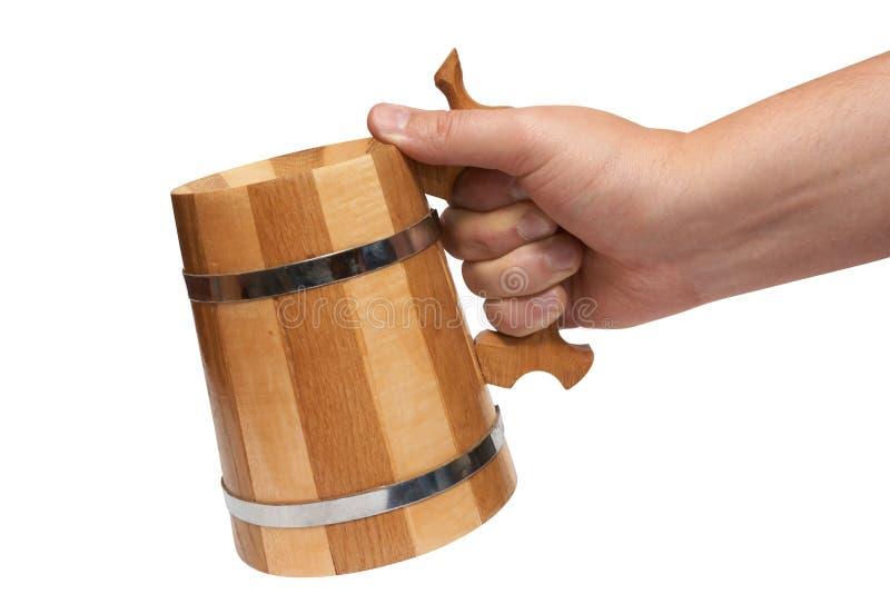 Download Man's Hand Holds Big Wooden Beer Mug Stock Photo - Image: 11711314