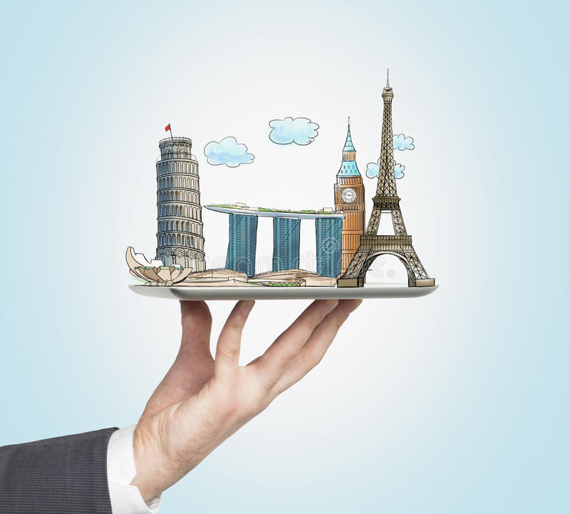 A man's hand holds a tablet with sketches of the most famous places in Italy, Great Britain, France and Singapore. The concept of royalty free illustration