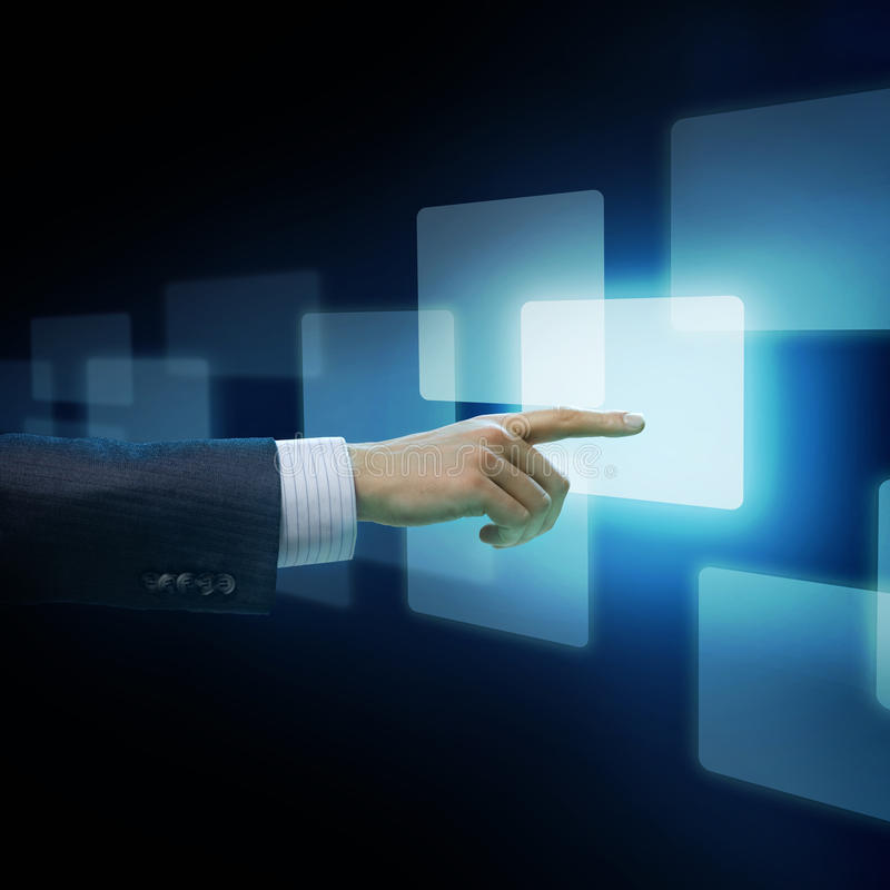 Download Mans Hand Pushing The Button Stock Photo - Image: 17867412