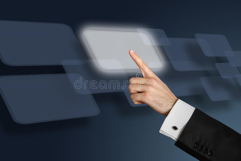 Download Man's Hand Pushing The Button. Stock Photo - Image: 18070780