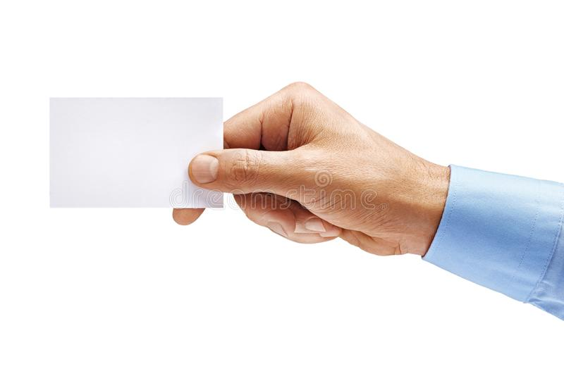 Man`s hand in shirt holding empty business card isolated on white background royalty free stock photo