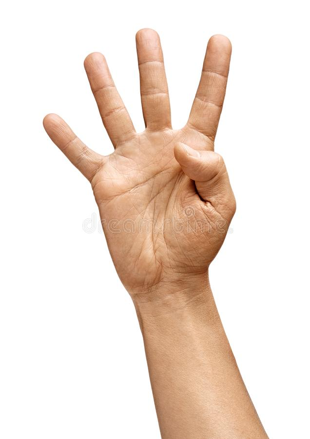 Man`s hand showing four fingers royalty free stock photos