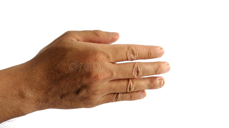 A man`s hand with a symbol on white background, male hand`s shows hand shake gesture royalty free stock photography
