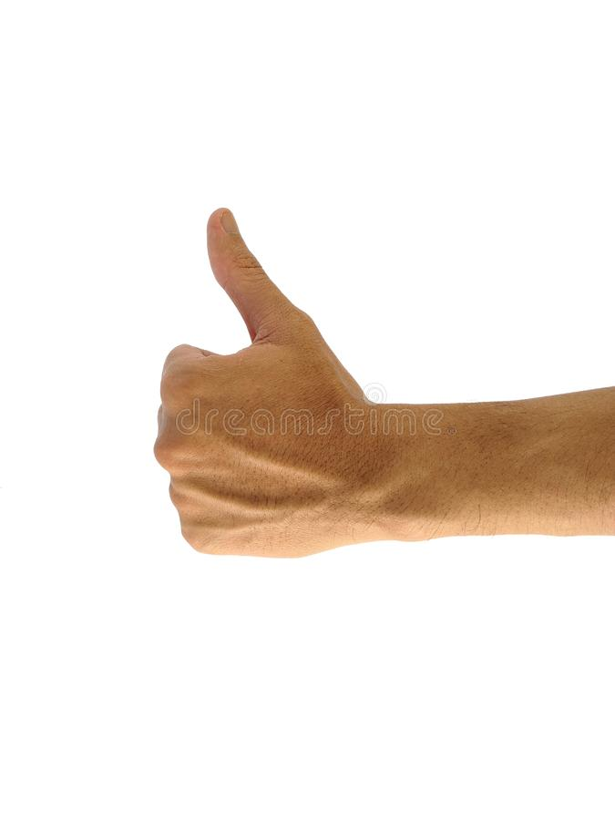 A man`s hand with a symbol on white background stock photos