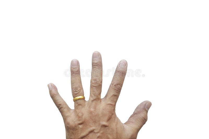 Man`s hand wearing a wedding ring. On his left ring finger isolated on white background stock photography