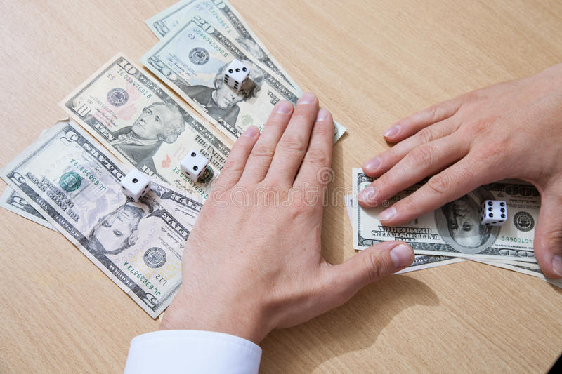 Man`s hands counting win. Closeup shot royalty free stock images