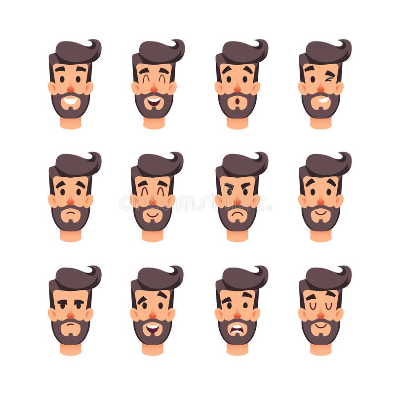 Man`s head with different emotions. Cartoon vector male faces character set. Facial emotions for game or animation stock illustration