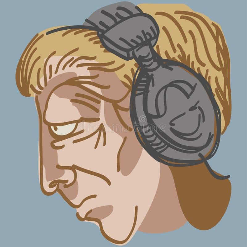 Download Man's Head With Music Earphones Stock Vector - Image: 27959177