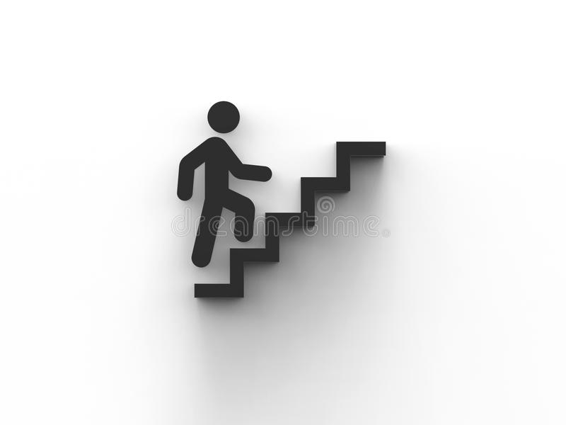 A man`s icon is climbing up the stairs 3D illustration render royalty free illustration