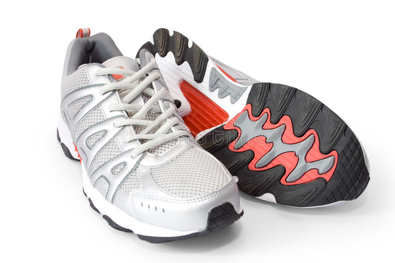 Man's jogging shoes. Isolated on white (contains clipping path royalty free stock image