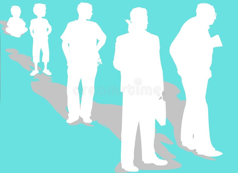A man's life evolution stock illustration