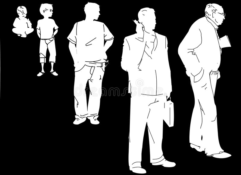 A man's life evolution royalty free illustration