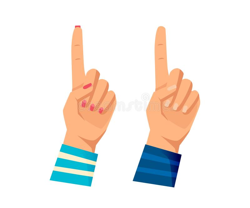 Man` s och händer för kvinnor s med gester Uppmärksamhet som tänker, royaltyfri illustrationer