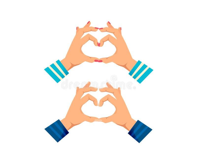Man` s och händer för kvinnor s med gester Visninghjärtaform royaltyfri illustrationer