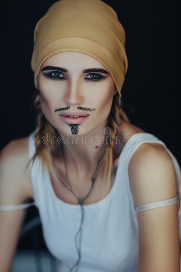 Man`s pirate style for a woman stock photo