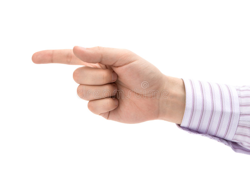 Man's pointing finger royalty free stock image