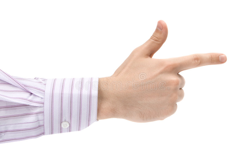 Man's pointing finger royalty free stock images