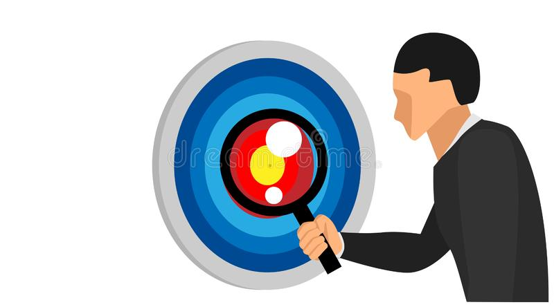 A man`s right hand holding a lens loop is looking at the desired target point. the character teaches seeing the middle target wit vector illustration