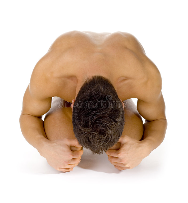 Man's scrolled body. stock photo