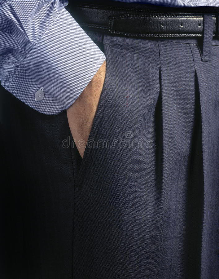 Man's suite. Pants and pocket detail royalty free stock photo