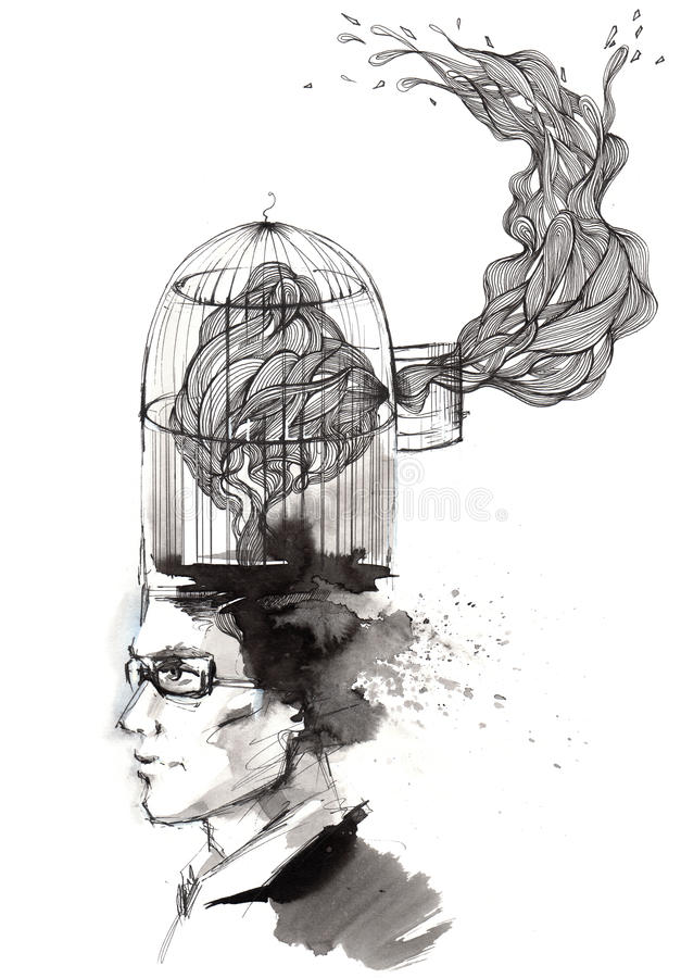 Man's thoughts. Painting of free flow of thoughts stock illustration