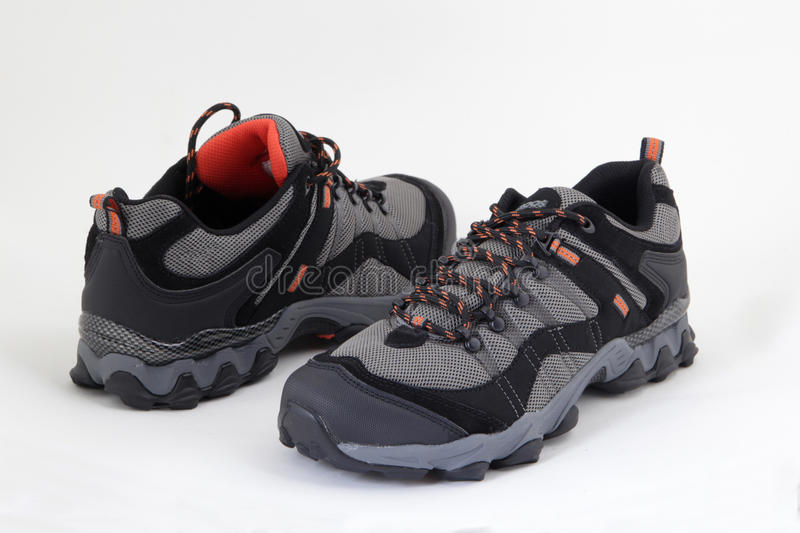 Man`s winter mountain boots. Shoes stock image