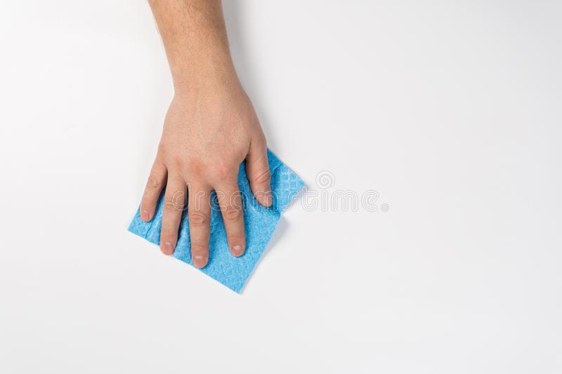 Man`s hand cleaning on a white background royalty free stock images
