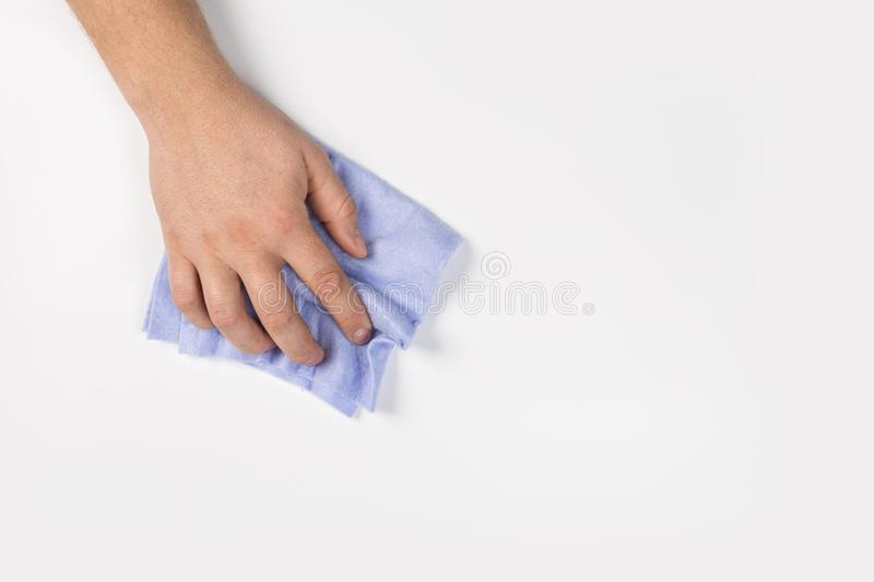Man`s hand cleaning on a white background royalty free stock photo