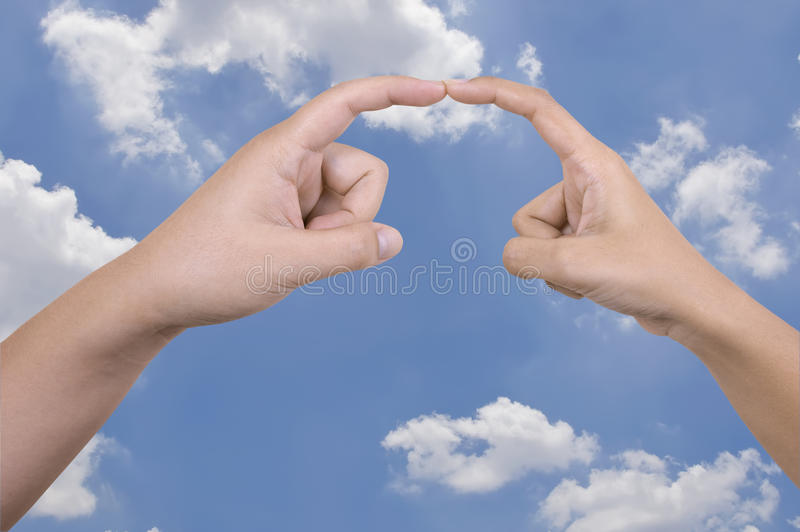 Man's and Woman's Hand Touch stock photo