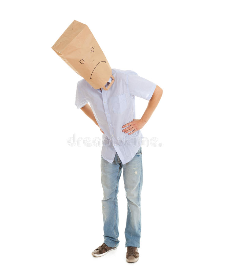 Download Man With Sad Paper Bag On Head, Full Length Stock Image - Image: 21732675