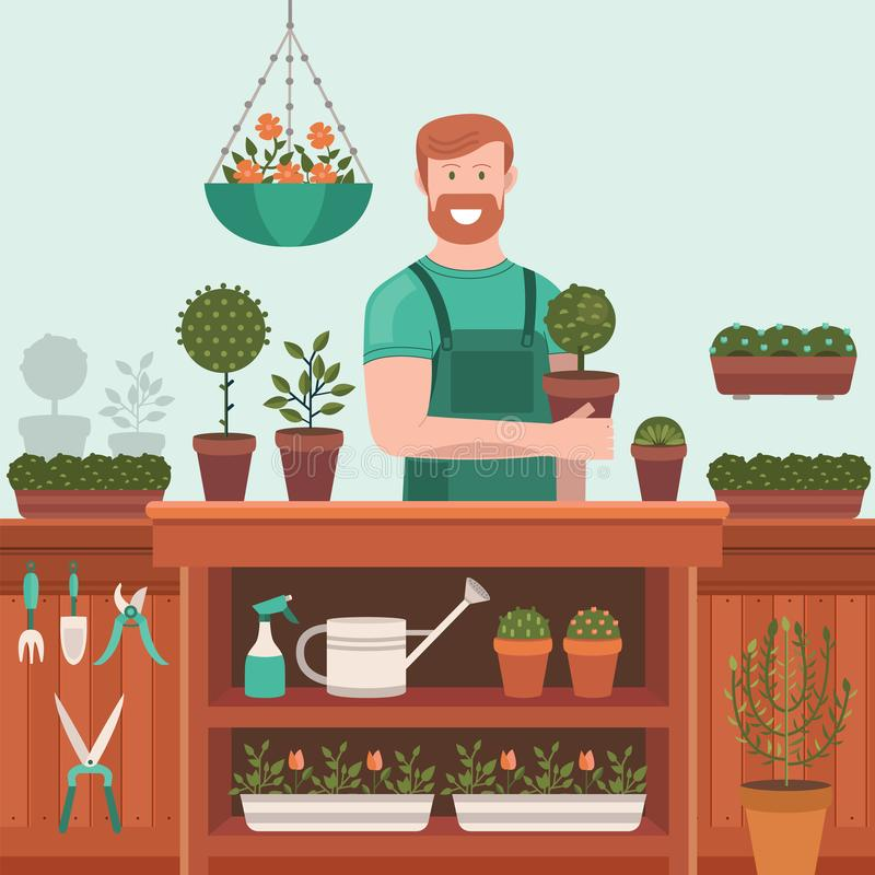 Seller sells plants and flowers stock photography