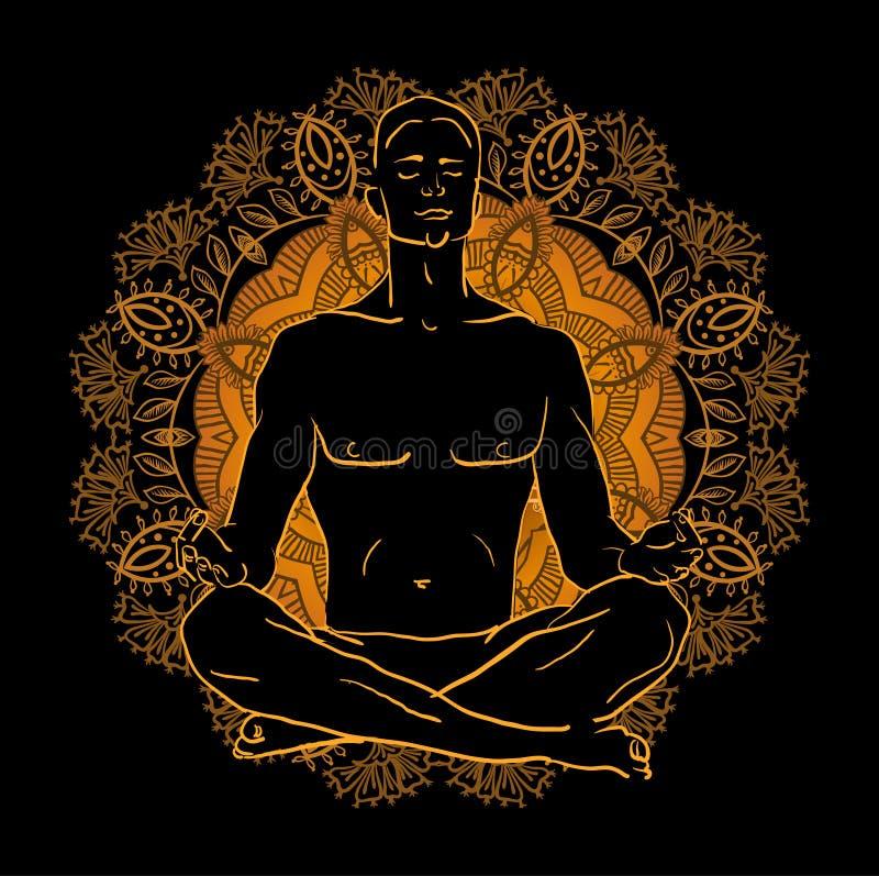 Man sammanträde i lotusblommapositionen som gör yogameditation stock illustrationer