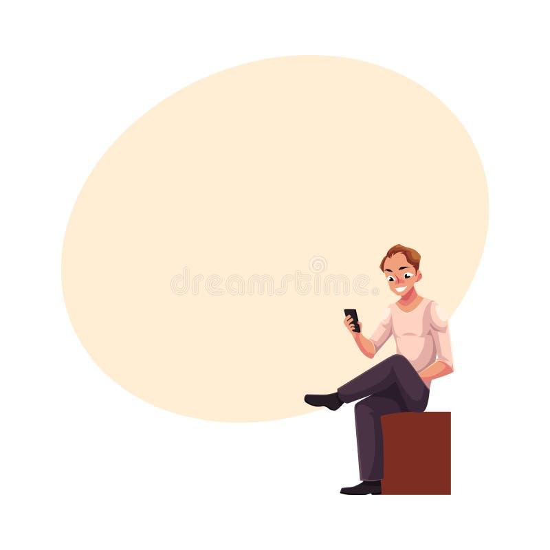 Man sammanträde och att spela med smartphonen som smsar, messaging, genom att använda mobiltelefonen vektor illustrationer
