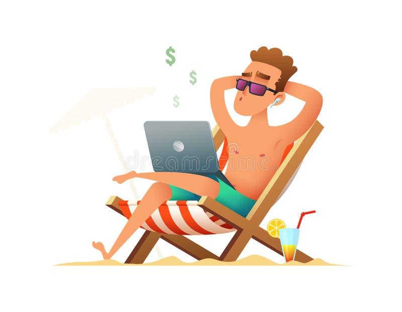 Man sammanträde på en dagdrivare och arbete på datoren Freelanceren får betald och att sitta och koppla av på stranden på royaltyfri illustrationer