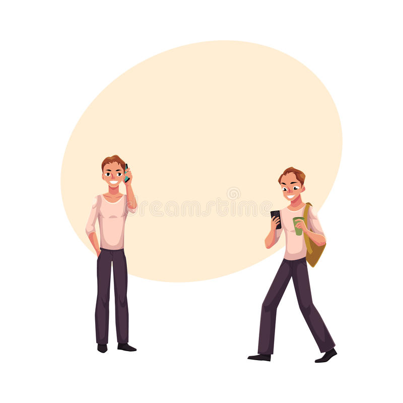 Man samtal vid mobiltelefonanseende, genom att använda smartphonen på gå stock illustrationer