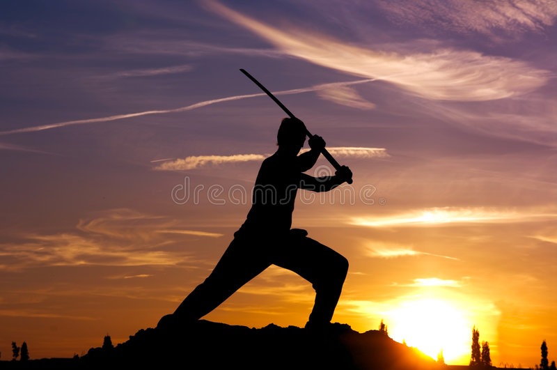 Man samurai sword sky stock images