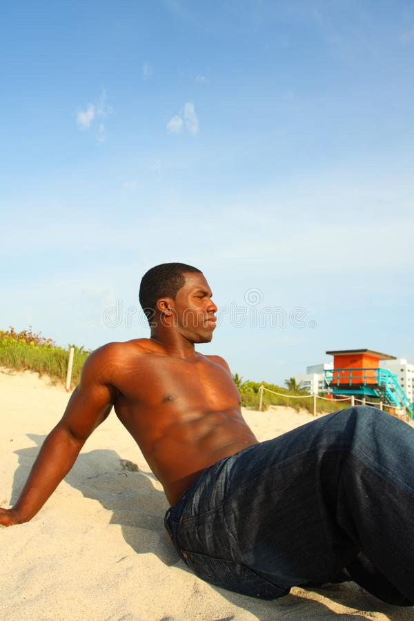 Man On The Sand stock image