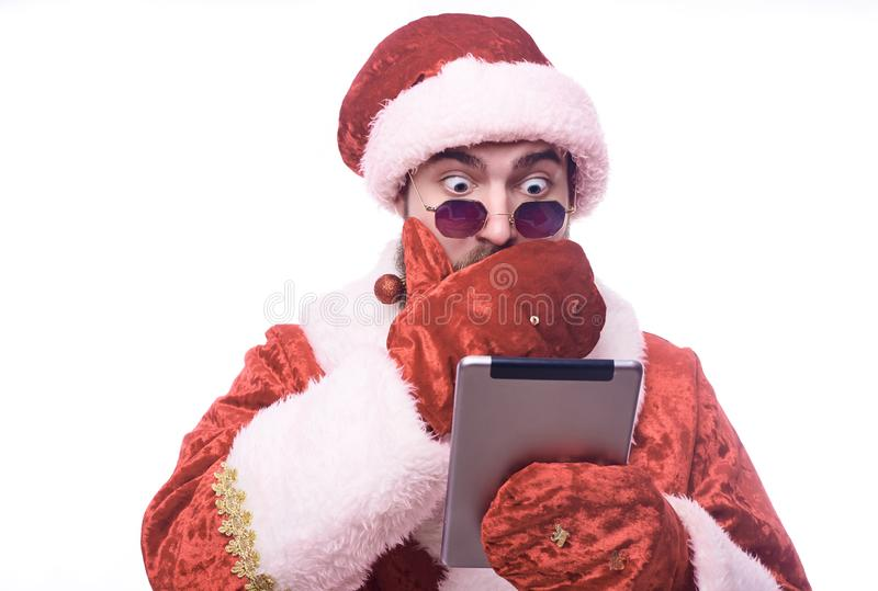 Man in Santa Claus costume stock image