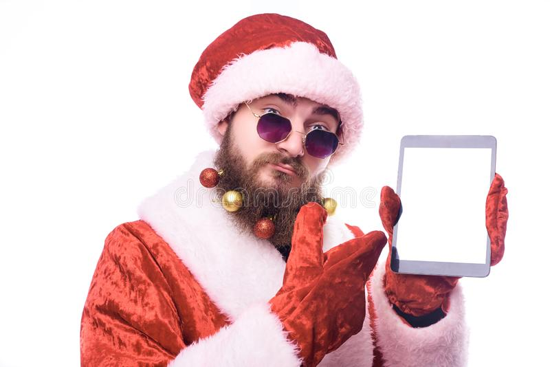 Man in Santa Claus costume stock photo