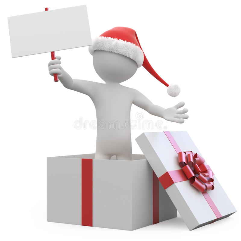 Man With Santa Hat And A Blank Card Leaving A Gift Royalty Free Stock Photography