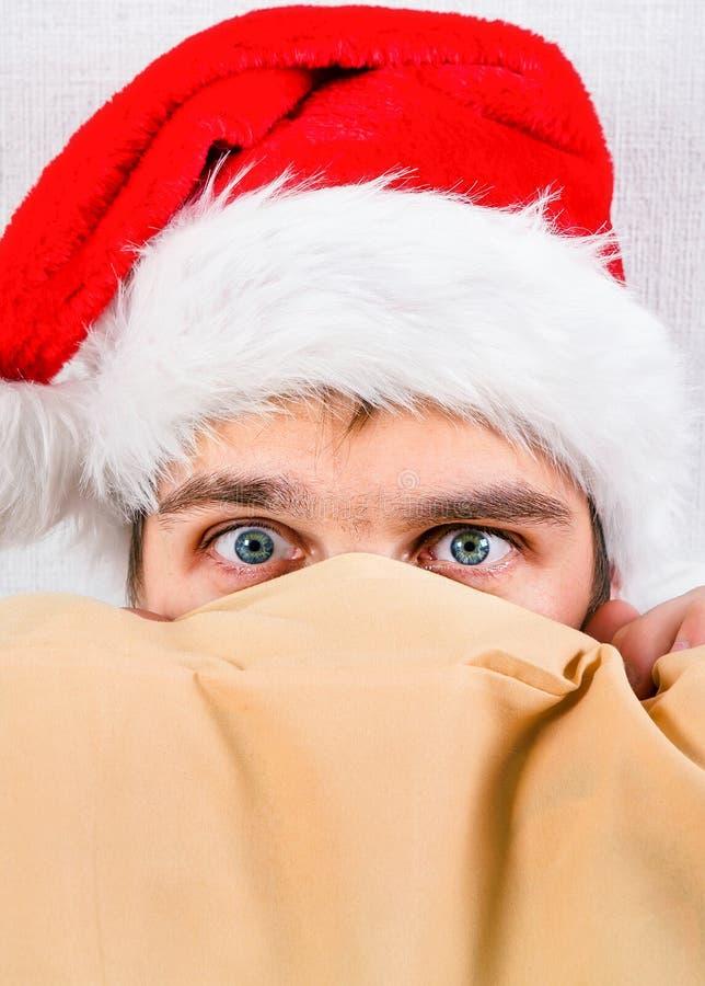 Man in Santa Hat stock image