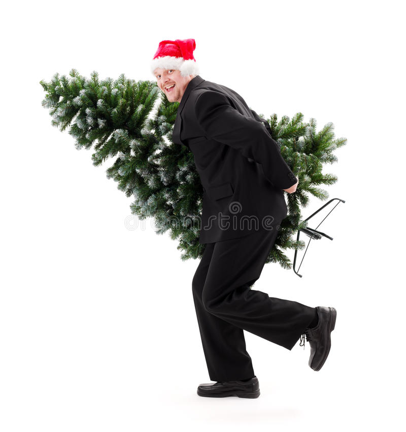 Man In Santa S Hat Carry Bald Christmas Tree Stock Photography