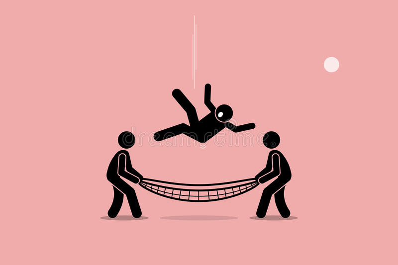 Man saved by Safety Net. Man falling down and saved by people using safety net at the bottom of the ground. Vector artwork depicts safety, security, insurance royalty free illustration