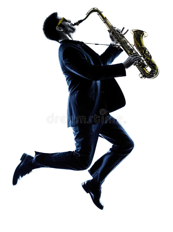 Man saxophonist playing saxophone player silhouette. One caucasian man saxophonist playing saxophone player in studio silhouette isolated on white background stock photos